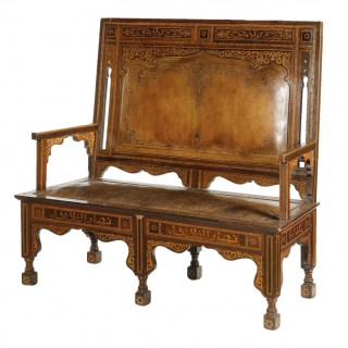 OTTOMAN PARQUETRY AND MOTHER OF PEARL INLAID SETTEE. SYRIA, CIRCA 1900