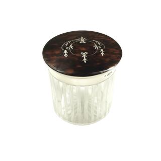 Antique Sterling Silver & Inlaid Tortoiseshell Vanity Jar 1914