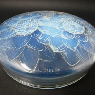 René Lalique Opalescent Glass 'Trois Dahlias' Box