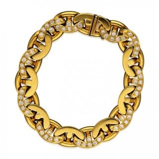 18ct Gold and Diamond Anchor Chain Link Bracelet by Bulgari circa 1980's
