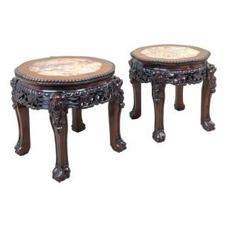 Pair Of 19th Century Oriental Hardwood Coffee Tables