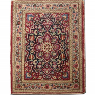 Small Oriental Antique Persian Rug, Handwoven Red Wool Carpet- 65x86cm