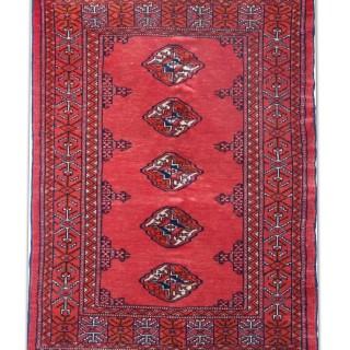 Handwoven Red Bukhara Rug, Oriental Wool Turkmen Persian Rug- 70x93cm