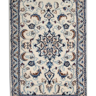 Handwoven Cream Blue Nain Persian Rug- Oriental Wool Carpet Mat- 57x94cm