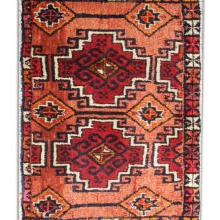 Small Orange Wool Rug, Handwoven Oriental Persian Tribal Rug- 70x120cm