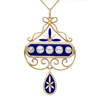 1.89ct Diamond and Enamel, 15ct Yellow Gold and Silver Pendant - Antique Victorian