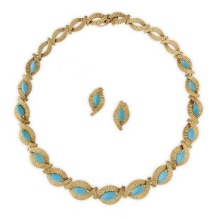 1960's 18ct yellow gold and turquoise necklace and earrings suite by Mellerio