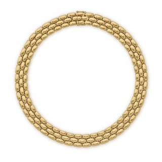 Chaumet 18ct yellow gold three row brick link necklace