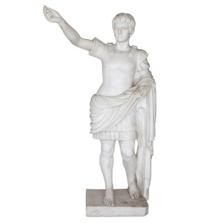 Large antique sculpted marble figure of Caesar Augustus