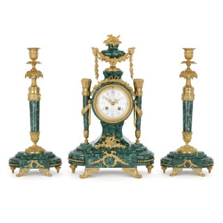 Neoclassical style three-piece malachite and gilt bronze clock set