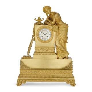 Rare Orientalist gilt bronze mantel clock by Denière et Fils
