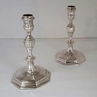 Antique Queen Anne Silver Candlesticks