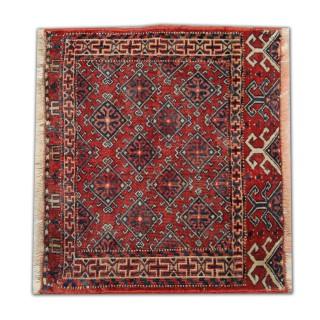 Small Handmade Antique Persian Turkmen Rug- 47x54cm