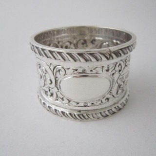 Antique Victorian Sterling Silver Napkin Ring - 1896