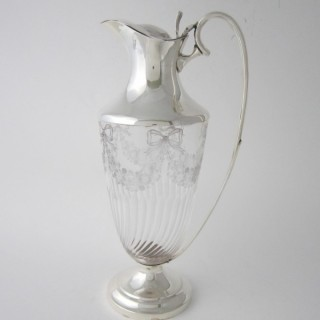 Antique Edwardian Sterling Silver & Glass Claret Jug - 1902