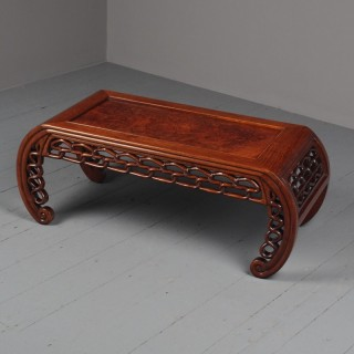 Antique Chinese Huanghuali and Burr Kang Table