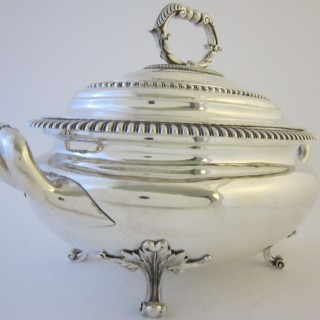 Antique Victorian Sterling Silver Soup Tureen - 1843