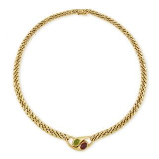 Bvlgari cabochon pink tourmailne and peridot necklace