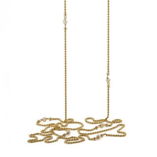 French antique 18ct yellow gold and pearl chain