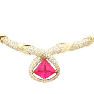 15.65 ct Pink Tourmaline and 6.90 ct Diamond, 18ct Yellow Gold Necklace - Vintage Italian Circa 1990