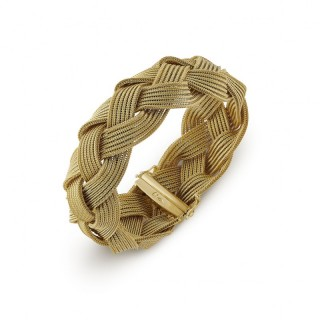 1970's 18ct yellow gold plait bracelet by Wolfers