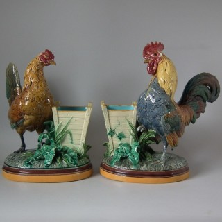 Pair Minton Majolica Hen & Rooster Vases by John Henk
