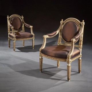 Fine Pair Of 19th C Decorative Italian Painted And Parcel Gilt Armchairs Of Neo-Classical Design
