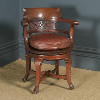 Antique English Victorian Oak & Brown Leather Revolving Office Desk Arm Chair (Circa 1880)