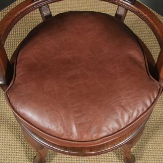 Antique English Victorian Oak & Brown Leather Revolving Office Desk Arm Chair (Circa 1880)