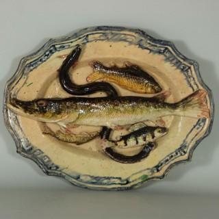 Joseph Landais Palissy Majolica Palissy Fish Platter