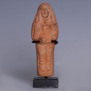 Nabataean Terracotta Enthroned Female Figurine