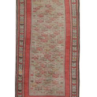 Handwoven Caucasian Carpet, Fine wool Karabakh Rug- 79x144cm