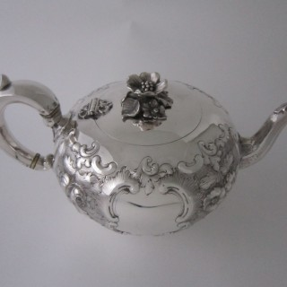 Exeter Antique Victorian Sterling Silver Teapot - 1855