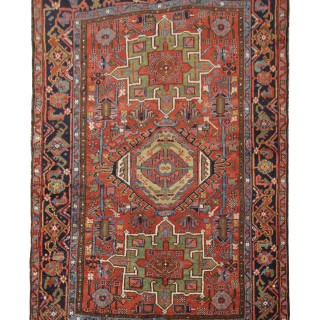 1890s Fine Rust Wool Heriz Rug, Persian Heriz Carpet -145x195cm