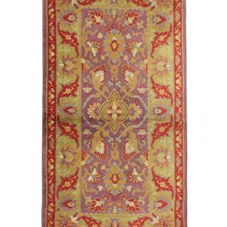 Handmade Irish Donegal Rug, Traditional Beige Purple wool Carpet Rug- 87x175cm