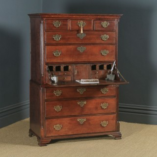 Antique English Georgian Oak Chest on Chest of Drawers Secretaire Writing Desk (Circa 1780)