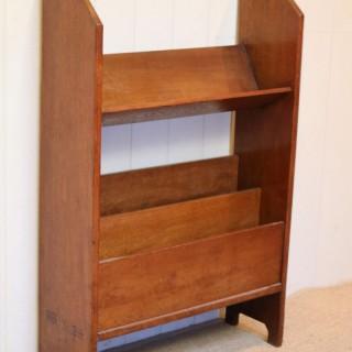 Oak Book Trough With A Magazine Rack