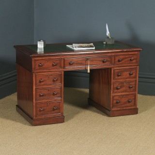 Antique English Victorian 4ft Mahogany & Leather Pedestal Office Desk (Circa 1860)