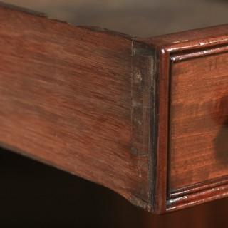 Antique English Victorian 4ft Mahogany & Leather Pedestal Office Desk (Circa 1860)