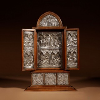 A Fine And Very Decorative Russian Triptych Devotional Icon 19th Century