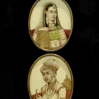 Miniatures of Akbar and Mariam-uz-Zamani