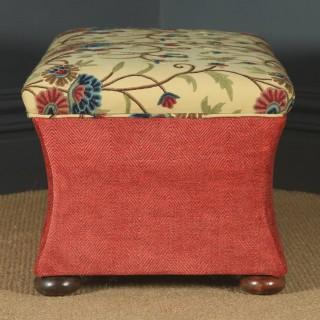 Antique English Victorian Mahogany & Crewel Work Concave Ottoman Box Stool Trunk (Circa 1870)