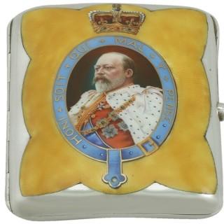 Sterling Silver and Enamel Cigarette Case - Antique Edwardian (1901)