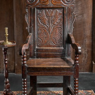 Charles II oak carved armchair
