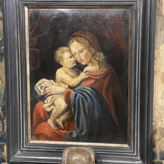 16th/17th Century Oil on Canvas Madonna and Child