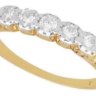 0.30 ct Diamond and 14 ct Yellow Gold, Five Stone Ring - Antique Circa 1920