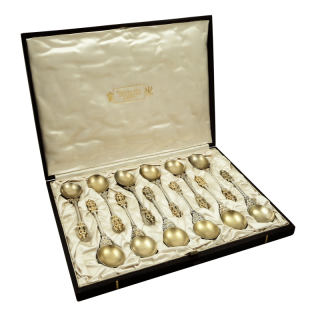 Set of 12 Antique Victorian Frosted Silver Gilt Teaspoons in Box 1888