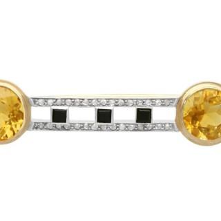 6.69 ct Citrine, 0.28 Diamond and Onyx, 14 ct Yellow Gold Brooch - Antique Circa 1920
