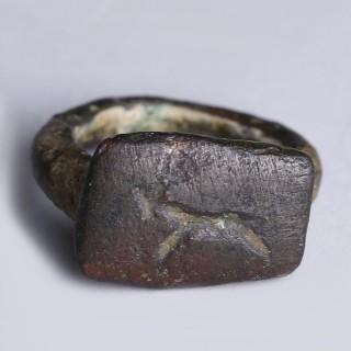 Roman Bronze Ring with Zoomorphic Intaglio