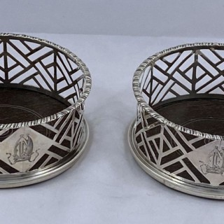 Pair of George III Antique Silver Wine Coasters belonging to the Archbishop of Canterbury made in 1765